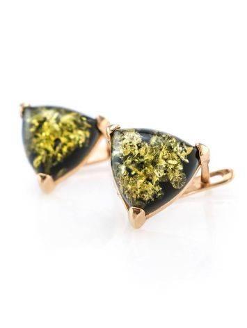 Небольшие серьги из серебра с золочением со вставками из зелёного янтаря «Треугольник», фото , изображение 3