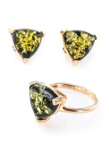 Небольшие серьги из серебра с золочением со вставками из зелёного янтаря «Треугольник», фото , изображение 6