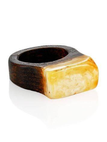 Этническое кольцо унисекс из натурального янтаря и древесины «Индонезия» 16.5, Размер кольца: 16.5, фото , изображение 3