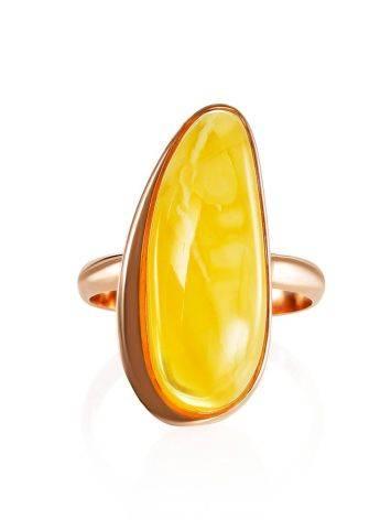 Удлинённое кольцо из натурального балтийского янтаря и золочённого серебра «Глянец» 18, Размер кольца: 18, фото , изображение 3