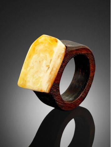Этническое кольцо унисекс из натурального янтаря и древесины «Индонезия» 16.5, Размер кольца: 16.5, фото , изображение 2