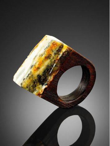Оригинальное кольцо из дерева с кусочком натурального балтийского янтаря «Индонезия» 15.5, Размер кольца: 15.5, фото , изображение 2