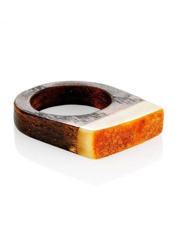 Оригинальное кольцо из дерева с кусочком натурального балтийского медового янтаря «Индонезия» 19.5, Размер кольца: 19.5, фото , изображение 3
