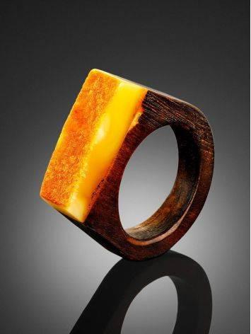 Оригинальное кольцо из дерева с кусочком натурального балтийского медового янтаря «Индонезия» 19.5, Размер кольца: 19.5, фото , изображение 2