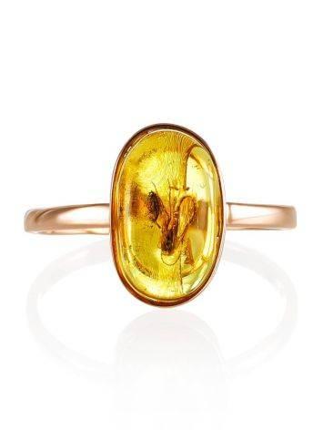 Уникальное золотое кольцо «Клио» из янтаря с крупным инклюзом насекомого 17, Размер кольца: 17, фото , изображение 4