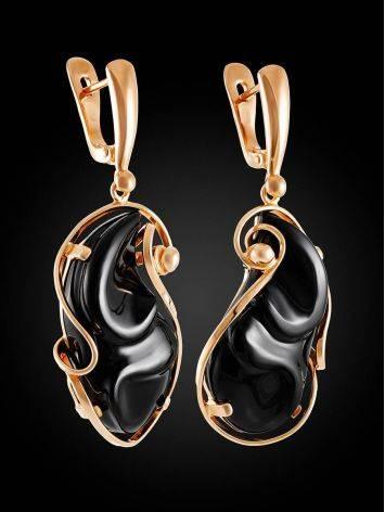 Роскошные яркие серьги «Серенада» из золочённого серебра с чёрным ониксом, фото , изображение 3
