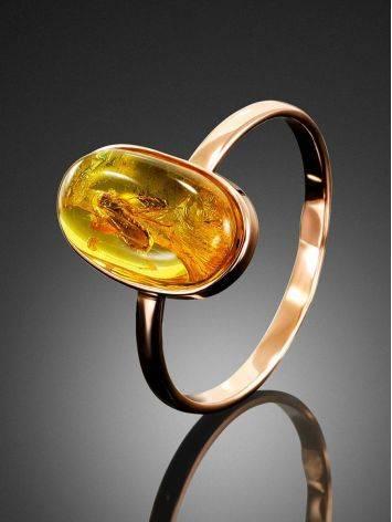 Уникальное золотое кольцо «Клио» из янтаря с крупным инклюзом насекомого 17, Размер кольца: 17, фото , изображение 3