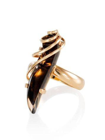 Позолоченное серебряное кольцо со вставкой из дымчатого кварца «Серенада» б/р, Размер кольца: б/р, фото , изображение 3