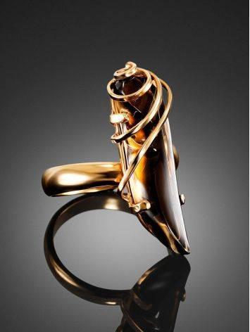 Позолоченное серебряное кольцо со вставкой из дымчатого кварца «Серенада» б/р, Размер кольца: б/р, фото , изображение 2