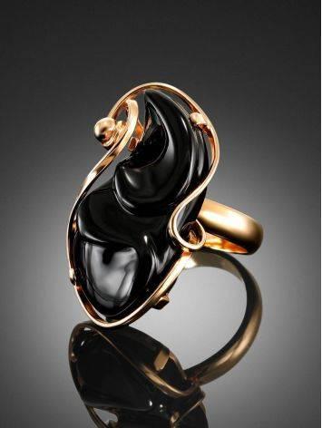 Уникальное кольцо с чёрным ониксом в золоте «Серенада», Размер кольца: б/р, фото , изображение 2