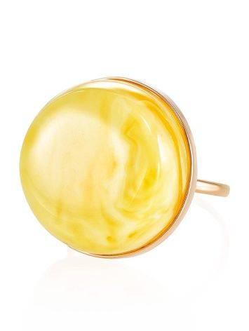 Стильное и элегантное кольцо из золота и пейзажного янтаря 17.5, Размер кольца: 17.5, фото , изображение 3
