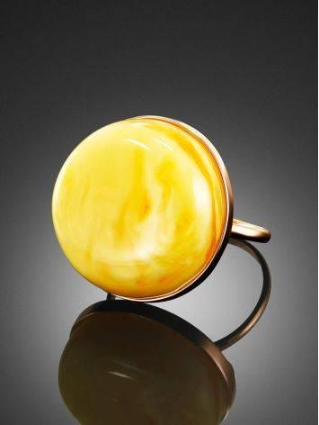 Стильное и элегантное кольцо из золота и пейзажного янтаря 17.5, Размер кольца: 17.5, фото , изображение 2