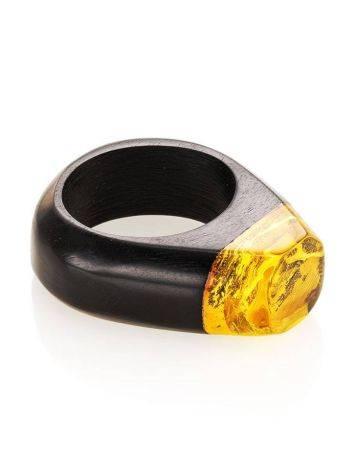 Эффектное кольцо из древесины граба и натурального янтаря «Индонезия», Размер кольца: 19.5, фото , изображение 3