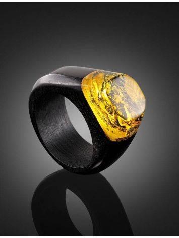 Эффектное кольцо из древесины граба и натурального янтаря «Индонезия», Размер кольца: 19.5, фото , изображение 2