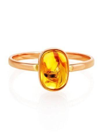 Кольцо из золота с натуральным балтийским янтарём с инклюзом «Клио» 17, Размер кольца: 17, фото , изображение 4