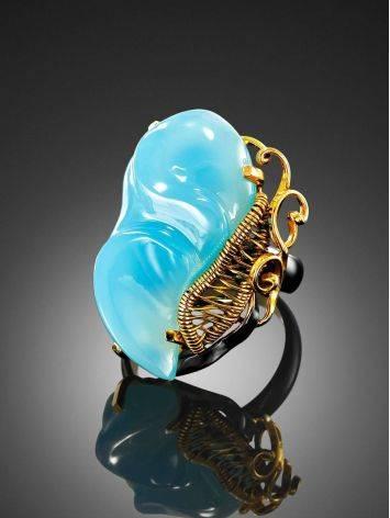 Нежное кольцо из золочённого серебра с ярко-голубым халцедоном «Серенада» б/р, Размер кольца: б/р, фото , изображение 2