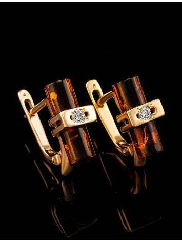 Оригинальные серьги из золочённого серебра с янтарём «Скандинавия», фото , изображение 6