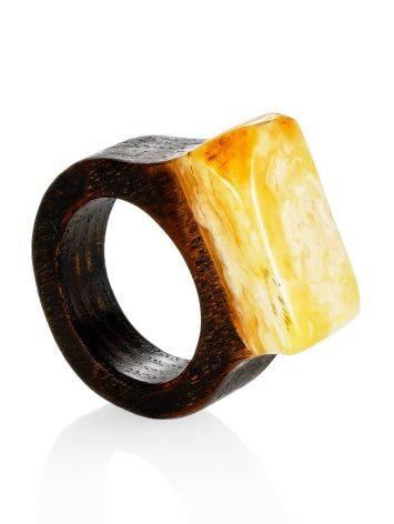 Этническое кольцо унисекс из натурального янтаря и древесины «Индонезия» 16.5, Размер кольца: 16.5, фото