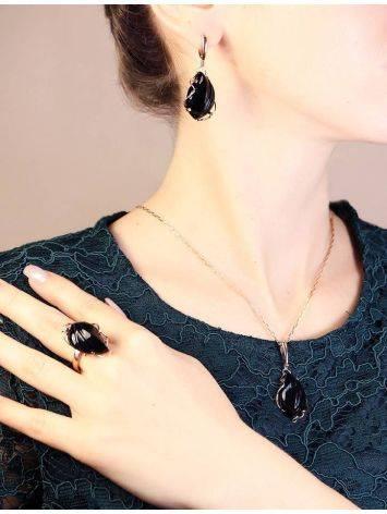 Роскошные яркие серьги «Серенада» из золочённого серебра с чёрным ониксом, фото , изображение 5