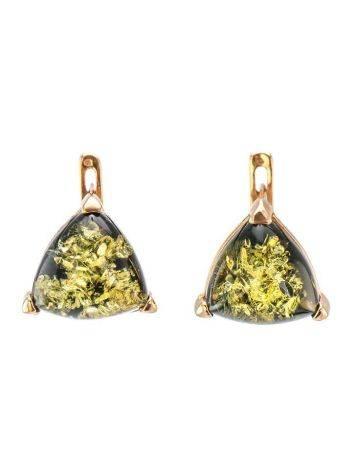 Небольшие серьги из серебра с золочением со вставками из зелёного янтаря «Треугольник», фото
