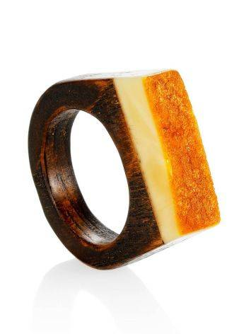 Оригинальное кольцо из дерева с кусочком натурального балтийского медового янтаря «Индонезия» 19.5, Размер кольца: 19.5, фото