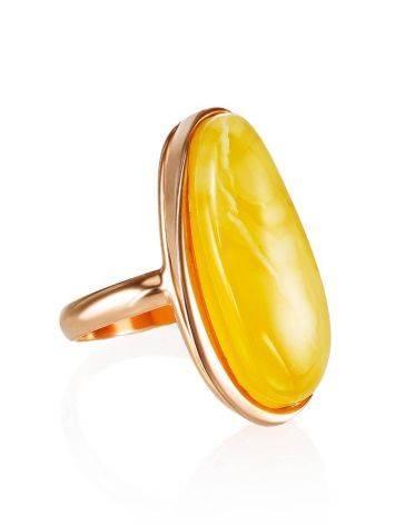 Удлинённое кольцо из натурального балтийского янтаря и золочённого серебра «Глянец» 18, Размер кольца: 18, фото