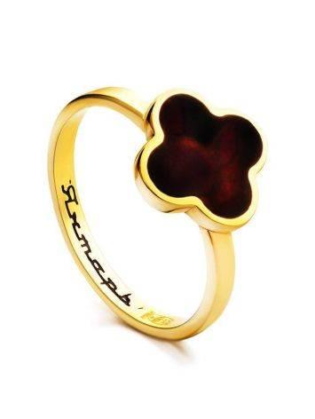 Позолоченное кольцо «Монако» Янтарь® с натуральным вишнёвым янтарём, Размер кольца: 16.5, фото