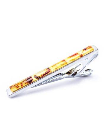 Пёстрый зажим для галстука с натуральным янтарём, фото , изображение 3