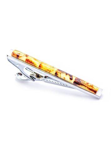 Пёстрый зажим для галстука с натуральным янтарём, фото , изображение 2