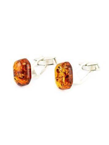 Серебряные запонки с натуральным янтарем «Коньячные кнопки прямоугольные», фото , изображение 3