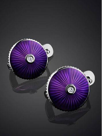 Круглые серебряные серьги с эмалью и бриллиантами «Наследие», фото , изображение 2