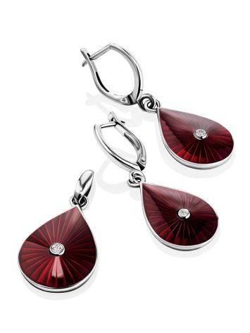 Удлиненные серебряные серьги с красной эмалью и бриллиантами «Наследие», фото , изображение 4