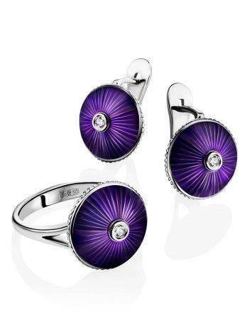 Круглые серебряные серьги с эмалью и бриллиантами «Наследие», фото , изображение 4