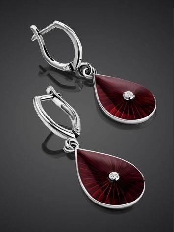Удлиненные серебряные серьги с красной эмалью и бриллиантами «Наследие», фото , изображение 2