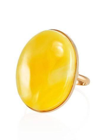 Кольцо из золота и натурального цельного янтаря с пейзажной текстурой 18, Размер кольца: 18, фото , изображение 3