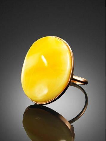 Кольцо из золота и натурального цельного янтаря с пейзажной текстурой 18, Размер кольца: 18, фото , изображение 2