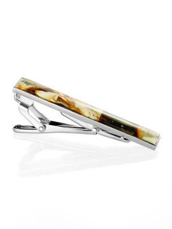 Зажим для галстука с натуральным янтарём, фото , изображение 4