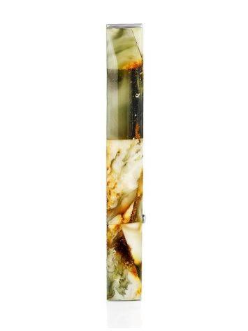 Зажим для галстука с натуральным янтарём, фото , изображение 3