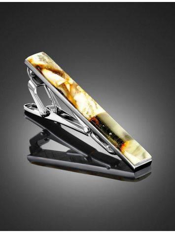 Зажим для галстука с натуральным янтарём, фото , изображение 2