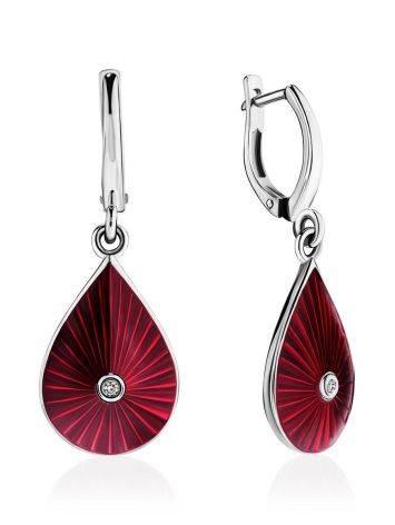 Удлиненные серебряные серьги с красной эмалью и бриллиантами «Наследие», фото
