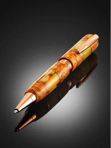 Шариковая ручка «Стрим» из сувели карельской березы и натурального янтаря, фото , изображение 2