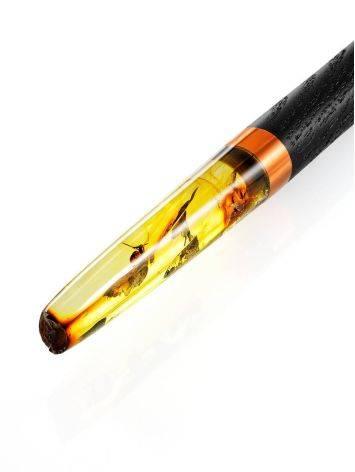 Шариковая ручка из дерева и натурального янтаря с инклюзами, фото , изображение 5
