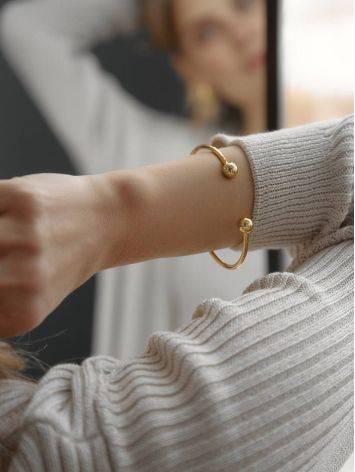 Дизайнерский браслет-кафф из серебра с позолотой Liquid, фото , изображение 4