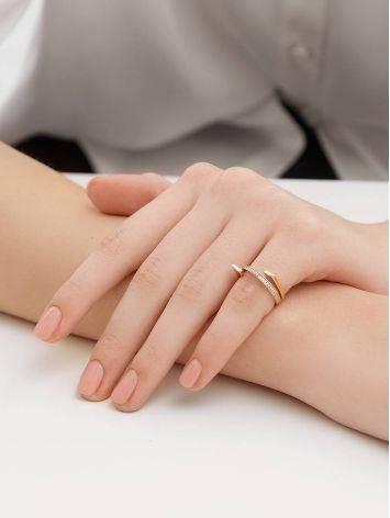 Трендовое золотое кольцо с фианитами, Размер кольца: 16.5, фото , изображение 4