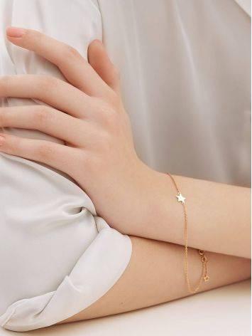 Тонкий золотой браслет со звездой, фото , изображение 4