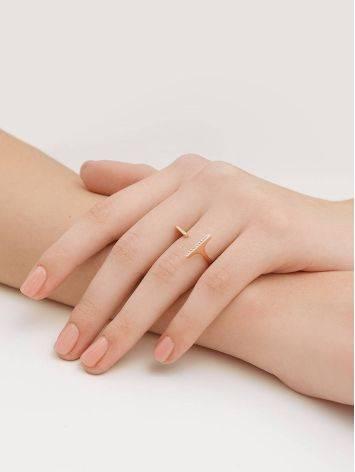 Потрясающее разомкнутое золотое кольцо с фианитами, Размер кольца: 16.5, фото , изображение 4