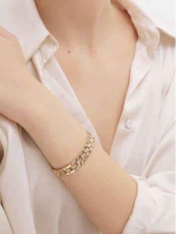 Шикарный золотой браслет из широких геометричных звеньев, фото , изображение 4