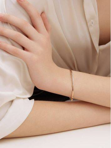 Стильный браслет-обруч с цирконами, фото , изображение 4