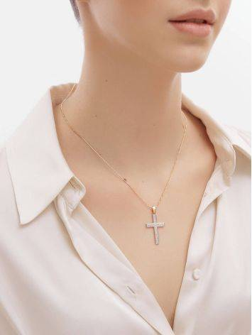 Золотой кулон в форме креста с фианитами, фото , изображение 4
