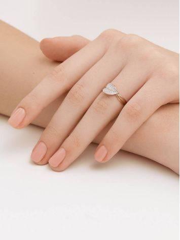 Утонченное золотое кольцо с фианитами, Размер кольца: 17.5, фото , изображение 4